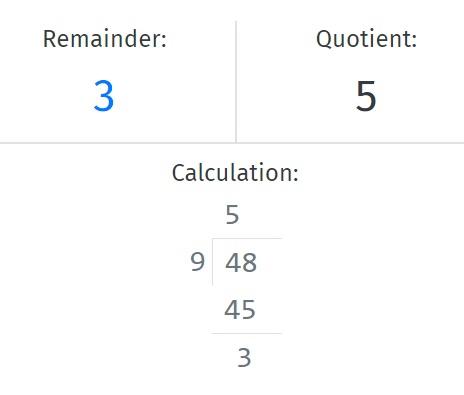 Remainder Calculator - Result