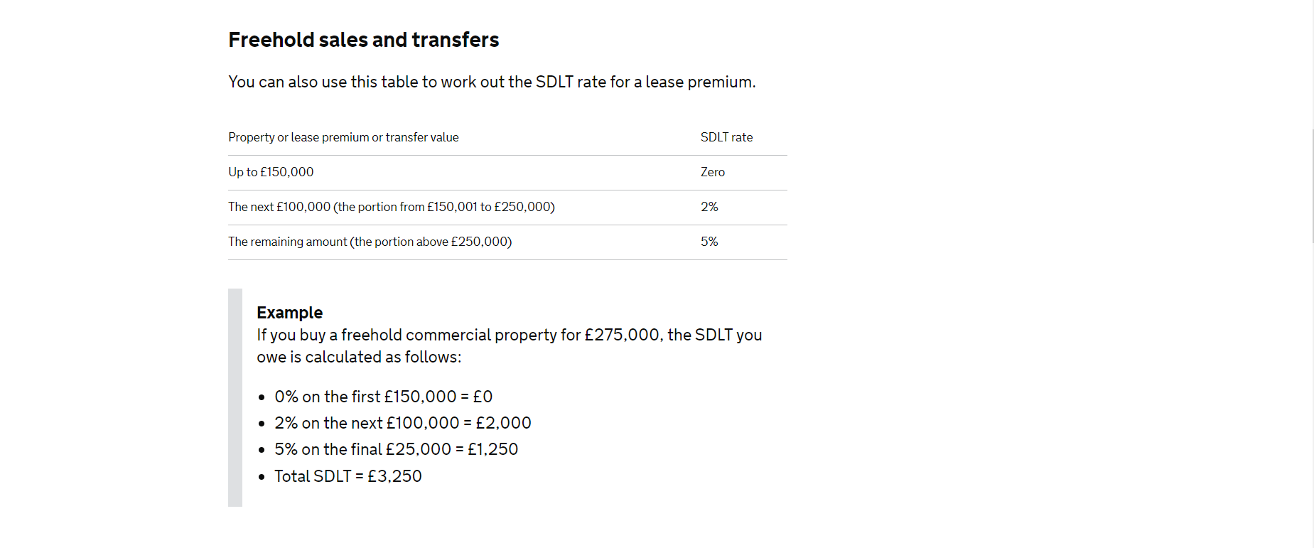 freehold sales and transfer rate